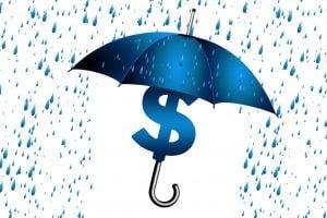 Rain drops, an umbrella with a dollar sign underneath it