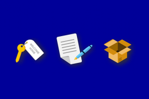 Cardboard box, contract and key - everything you need from local movers Texas