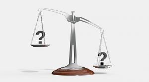 Scale weighing question marks