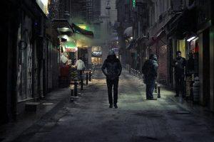 Man walking alone at night