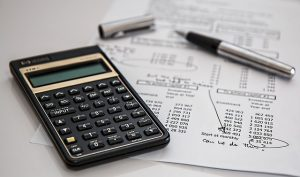 Calculator on tax papers