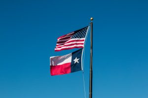 The US flag and the Texas flag