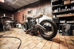 Motorbike in garage