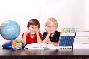 Two boys in school