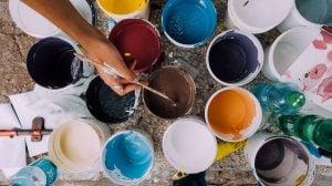 Different paint colors.