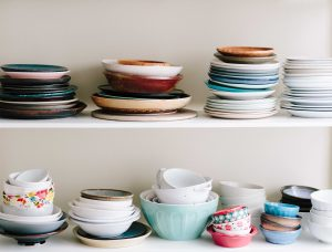 Plates on the shelves