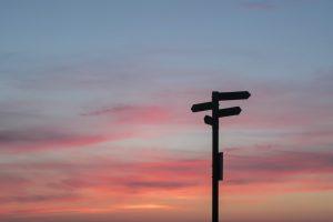 A crossroads sign