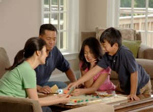 A family playing a game