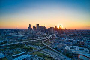 Sunset over Dallas skyscrapers