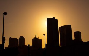 dark siluete of Dallas bulidings