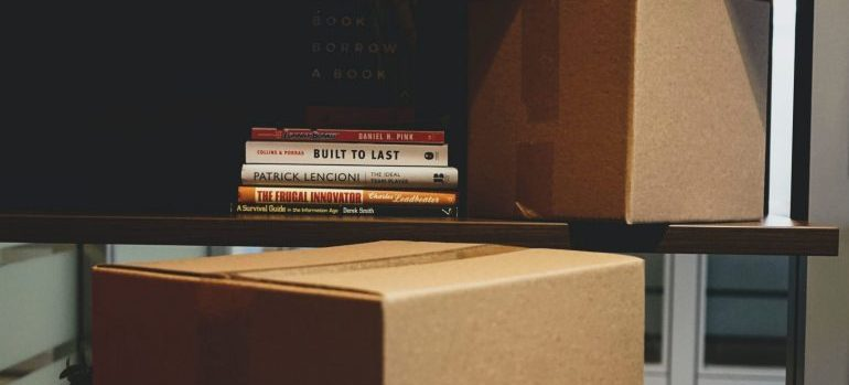 Books and Cardboard boxes