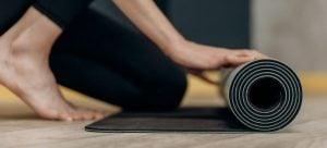 Rolling yoga mat.