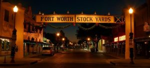 fort worth stock yards sign at night