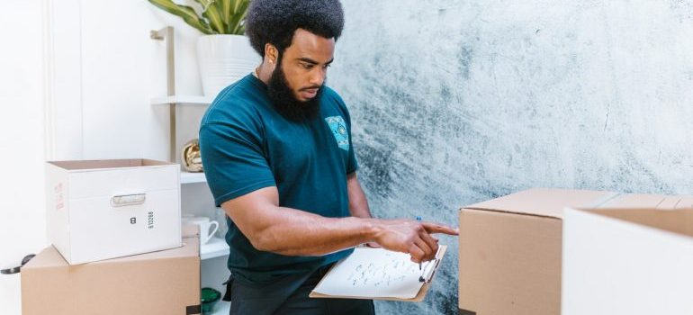 A man from a company that provides packing service