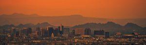 cityscape of phoenix arizona in the sunset