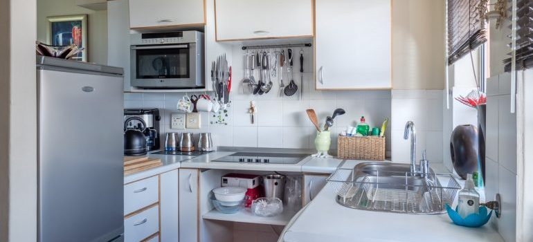White kitchen, with kitchen appliances
