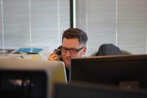 A man calling someone
